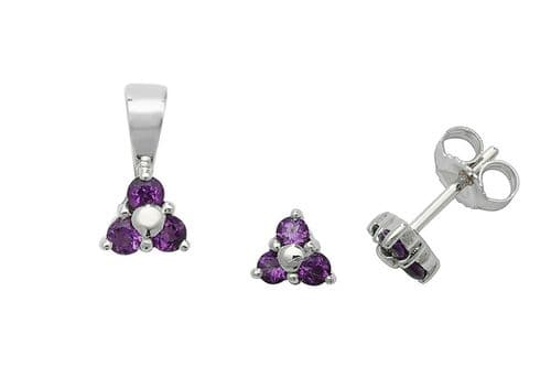 Amethyst Pendant and Earrings Set Three Stone Trilogy 9ct White Gold Hallmarked